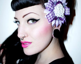 Rockabilly Daisy Sparkly Rose Lilac Gingham Bow Hair Flower - Retro - Pinup - 50s