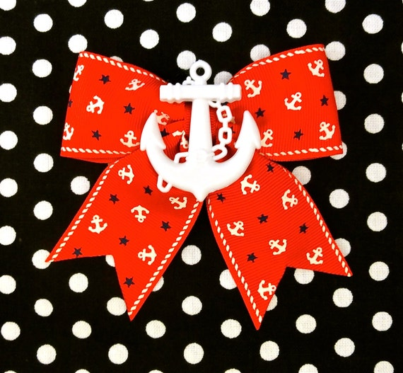 Retro Sailor Doll Anchors and Stars Hair Bow - Red - Maritime - Nautical - 50s