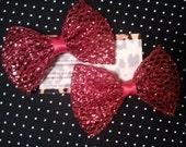 Glitter Red Lolita hair bow set