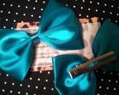 Satin Teal Hair bow set