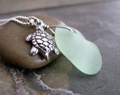 Seaglass Necklace,  Aqua Seaglass Necklace, Sterling Silver, Genuine Sea Glass, Sea Turtle Charm, Beach Glass - Turtle Time
