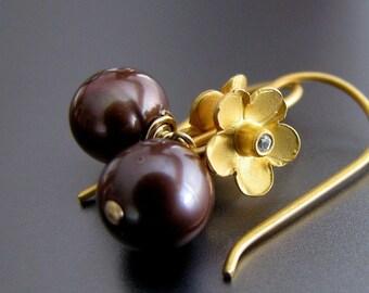 Pearl Earrings, Chocolate Pearl Earrings, Gold Earrings, Genuine AAA Freshwater Pearls - Godiva's Dream