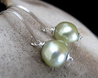 Pearl Earrings, Pale Green Pearl Earrings, Sterling Silver, Freshwater Pearl Earrings, Light Green Earrings, Chartreuse - Peridot Pearls