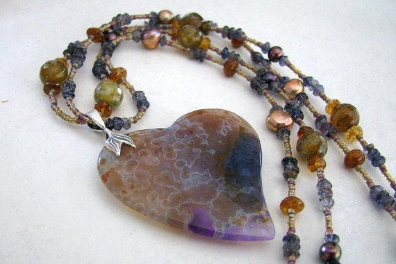 Heart Necklace Purple Ocean Agate, Tourmaline, Pearl, Iolite Gemstone Double Strand Handmade - Here's My Heart