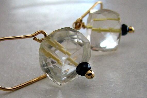 Gold Earrings Lemon Quartz Cube, Black Spinel Gemstone, Handmade - Lemon Ice