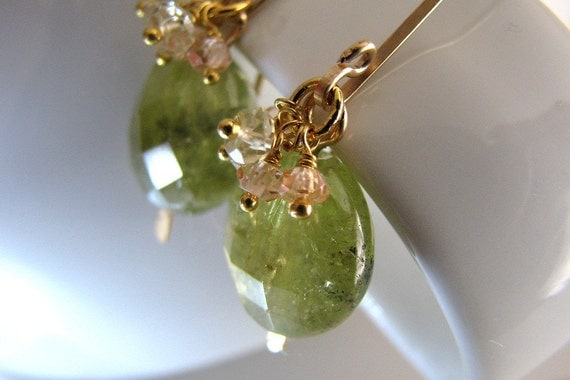 Garnet Earrings, Green Garnet Earrings, Grossular Garnet, Gold Earrings, Gemstone Cluster - Emerald Pond