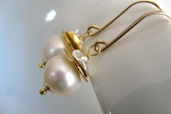 White Pearl Earrings, Sterling Silver, Dangle, Gold Vermeil Discs, Hammered Handmade Fashion - Silver and Gold