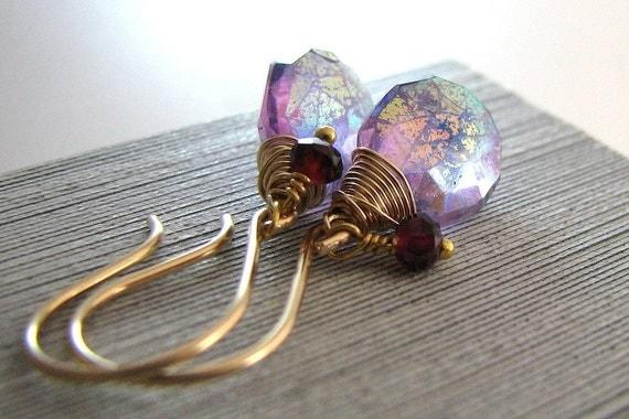 Purple Amethyst Earrings, Lavender Gemstone, AB Finish, Gold, Ruby Gemstone Charm, Wire Wrapped, February Birthstone - Carnival