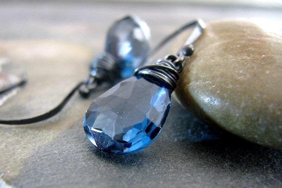 Blue Earrings, Blue Topaz Earrings, Sterling Silver, London Blue Topaz Gemstone - Into the Clear Blue