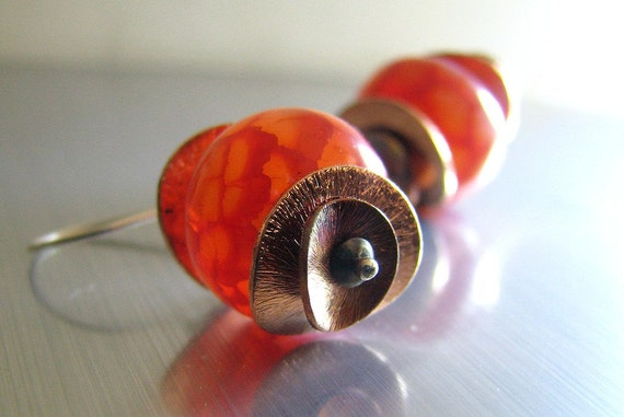 Red Orange Earrings, Red Fire Agate Gemstone, Copper, Sterling Silver, Tangerine, Tango, Summer Fashion