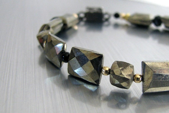 Pyrite Bracelet, Black Onyx, Gold, Art Deco Style, Modern, Simple, Classic, Luxe, Magnetic Clasp, Handmade Fashion - Fool's Gold