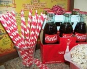 Paper  Straw   40 Red Stripe Straws   Durable   Vintage Kitchen Valentines Wedding   Candy Cane Straws   Ships Quickly Everywhere