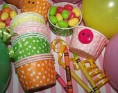 Treat/Portion Cups Polka Dot Party Cups Cupcake Baking 10 Pink With White Polka Dots  Ice Cream Cups Candy Cups