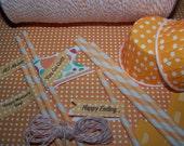 "Paper Straws12-12/Treat Cups-12/Baker's Twine  Bright Orange/Peachy Party Combo Polka Dots & Stripes ""Free Straw Flags"""
