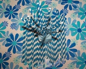 """Paper Straws For Your Party You Receive 40 Straws With 20 Blue/white & 20 Black/white stripes """"Free Custom Straw Flag Toppers"""""""