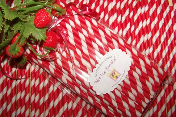 Paper  Straw   40 Red Stripe Straws   Durable   Vintage Kitchen   Valentines Day Straws   Ships Quickly Everywhere