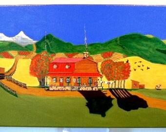 Landscape,Original,folk,horse,country,12x24,NAIVE,colorful