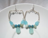 PLAYA BRAVA EARRINGS - Turquoise and Chalcedony Sterling Silver Wire Wrapped Hoop Earrings