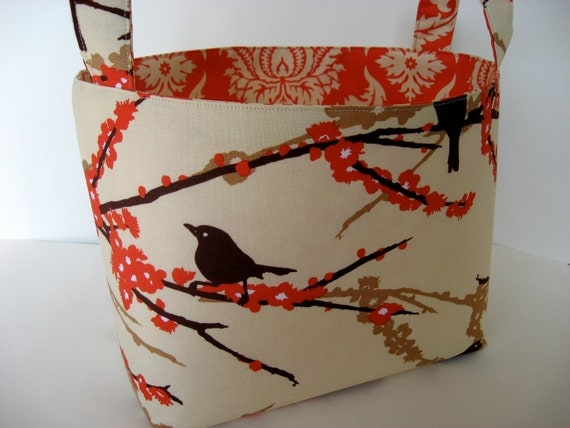 RESERVED FOR VANESSA - Fabric Storage Basket - Aviary 2 Sparrows Bark Cream