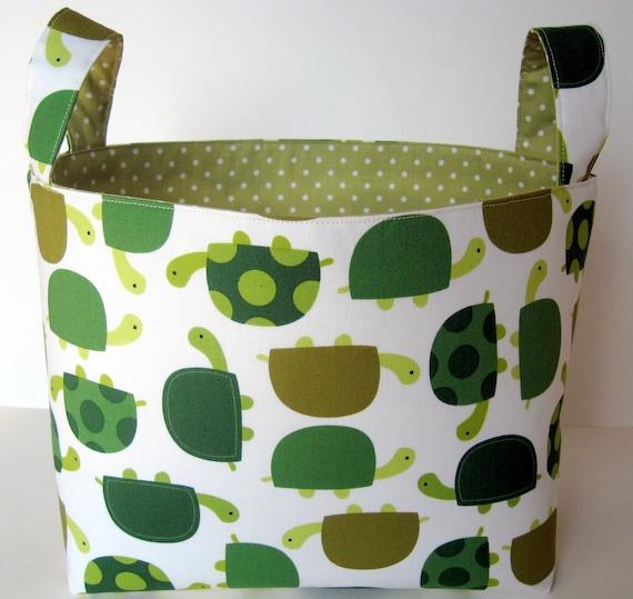 Fabric Storage Basket Bin - Green Turtles Urban Zoologie