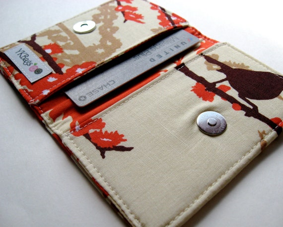 Business Card Case, Credit Card Holder Cover - Aviary 2 Sparrows Bark Cream - READY TO SHIP
