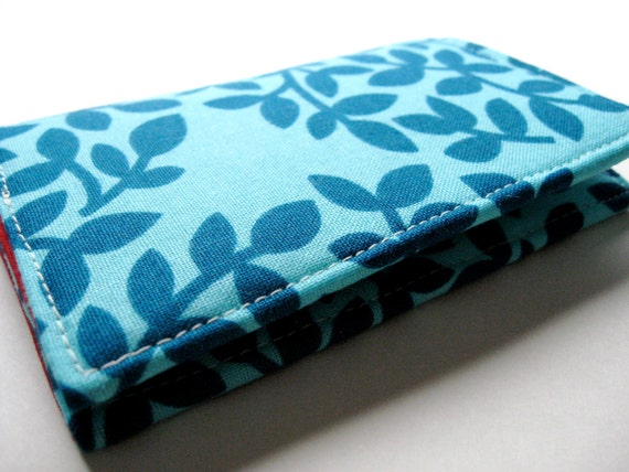 Business Card Holder Case, Credit Card Cover - Leaf Dots Teal - READY TO SHIP
