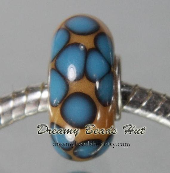 Sterling Silver Cored Lampwork Glass Bracelet Bead fits Pandora/Troll/Chamilia/Biagi - no.B014
