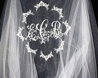 Special Offer Any length Heirloom Gunold Monogram on bare edged veil