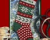 Holly and Snowflake Knitted Personalized Christmas Stockings, Wool Christmas Stockings