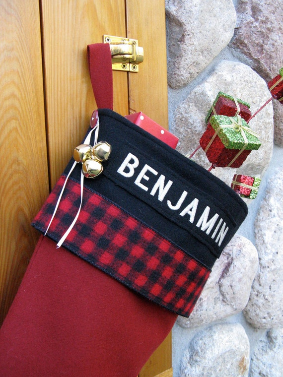 Embroidered Names Personalized Buffalo Plaid Christmas Stockings