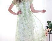 Vintage 1940s Green Cherry Sheer Day Dress - S
