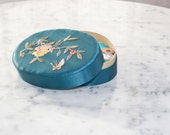 Vintage Embroidered Silk Satin Oval Trinket Box in Peacock Blue