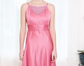 Vintage 1970s Dress - Dusty Rose Pink Dress with Lace applique - XS