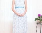 Vintage Lace Dress - 1960s Sky Blue and White Lace Dress - XS