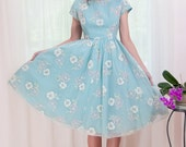 Vintage 1950s Dress with Flocked Cosmo Flowers on Robins Egg Blue - S