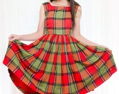 Vintage  1950s Dress - Red and Green Plaid Cotton Frock - S / M