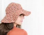 Vintage 1970s Hat - 70s Hat - Wide Brimmed Floppy Hat in Autumn Browns