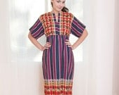Vintage Woven Ethnic Dress - Purple and Blue Striped Dress - S