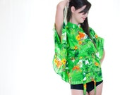 Sale - Vintage 1970s Aloha Green Hawaiian Cape Blouse with Mandarin Collar - OS
