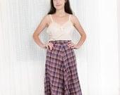 1970s Aline Skirt - 70s Purple Wool Plaid Skirt - S