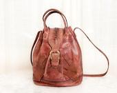 Vintage Leather Bucket Bag - Ethnic Distressed Leather Bag