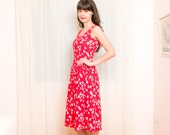 Vintage 1980s Dress - Red Dress with White Bow Print - New Old Stock - S