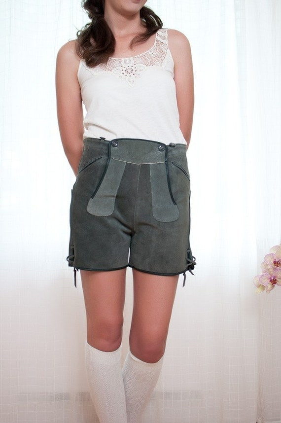 Vintage Authentic Lederhosen Suede Leather Shorts - S