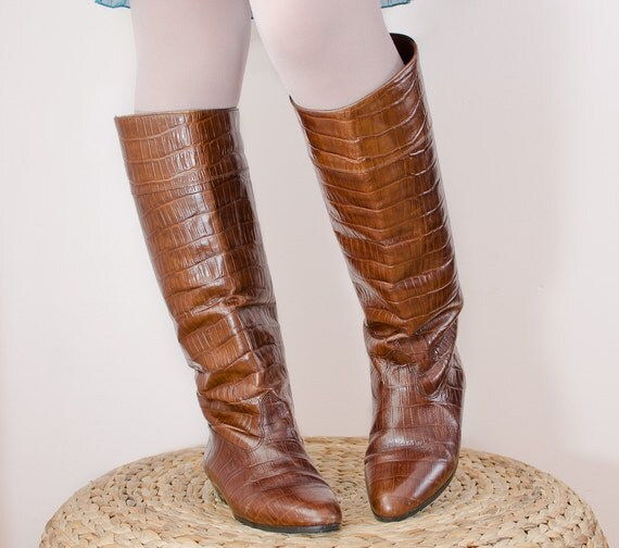 Vintage 1980s Brown Leather Boots - Crocodile Riding Style by La Vallée - 8 1/2 US
