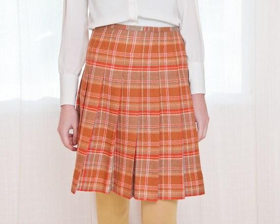 Sale - Vintage 1960s Skirt in Orange Creamsicle Wool Plaid - XS