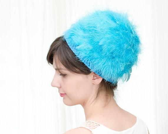 Sale - Vintage 1960s Hat - Mod Blue Hat with Feathers