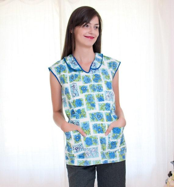 Sale - 1950s Smock Apron - Vintage 50s Floral Blue and Turquoise Cotton Shirt Apron - Cobbler Style