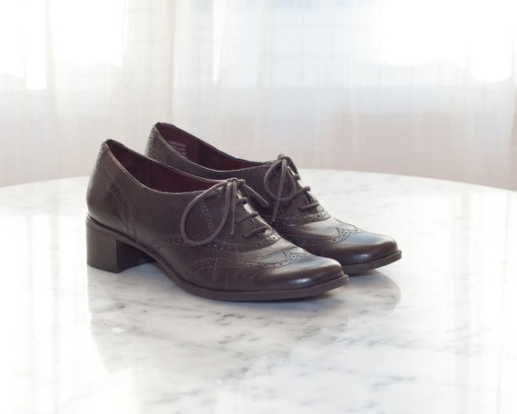 Reserved - Vintage Leather Shoes - Brown Leather Brougue Oxfords with Heels - Size 5 .5