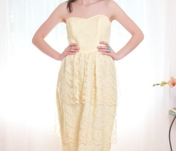 Yellow Summer Cocktail Dress - Vintage 1980s Dress - 80s Lace Dress - M