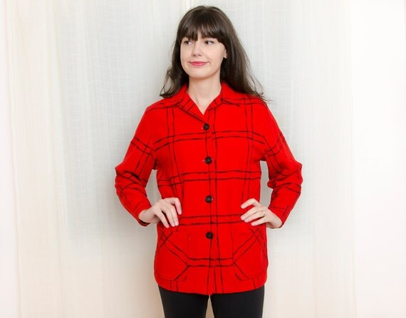 Vintage 1950s Canadian Red Plaid Wool Jacket / Shirt